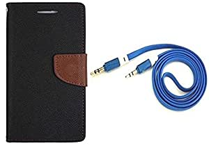Novo Style Wallet Case Cover For Oppo F1 Black + 3 feet Slim 3.5mm Music Record Stereo Audio Auxiliary AUX Cable Cord