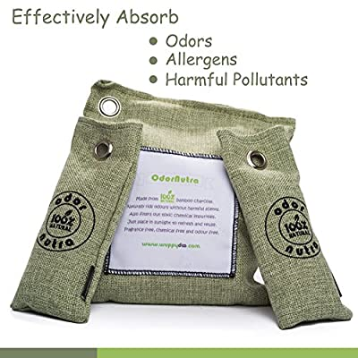 100% Natural Bamboo Charcoal Air Purifier, Chemical Free, Naturally Neutralizers Odors, Controls Moisture, Allergies & Bacteria, Fragrance Free, Non-toxic Purifier Bag Giving A Natural Freshness