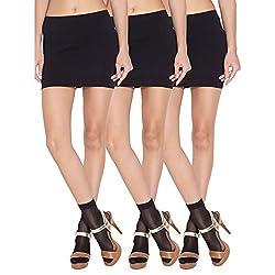 Wisegirls Ankle High Black Stockings Socks Pack Of 3 Pairs