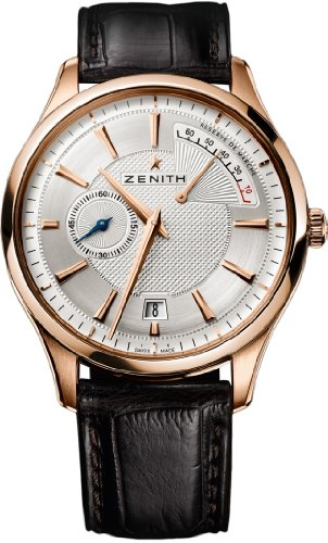 Zenith Captain Power Reserve Silver Dial 18kt Rose Gold Black Leather Mens Watch 18212068502C498