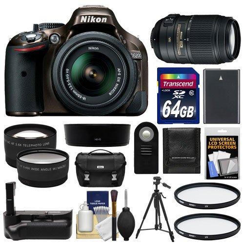 Nikon D5200 Digital Slr Camera & 18-55Mm G Vr Dx Af-S Zoom Lens (Bronze) With 55-300Mm Vr Lens + 64Gb Card + Case + Grip & Battery + Tripod + Tele/Wide Lenses + Filters Kit