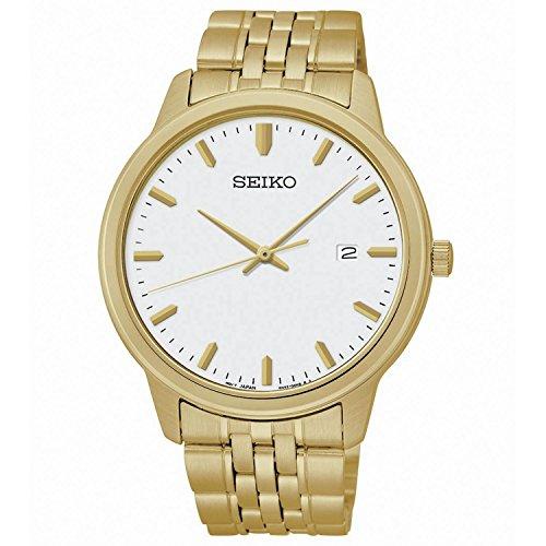 Seiko Quartz White Dial Gold-Tone Men's Watch SUR096 (Old Seiko Watches For Men compare prices)