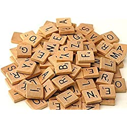 300 Wood Scrabble Tiles - NEW Scrabble Letters - Wood Pieces - 2 Complete Sets - Great for Crafts, Pendants, Spelling