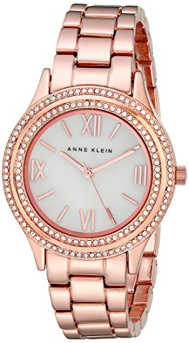 Anne Klein Women's AK/2006MPRG Swarovski Crystal-Accented Rose Gold-Tone Bracelet Watch