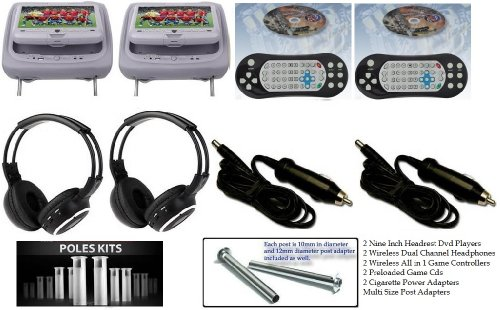"""New Pair Gray 9"""" Headrest Dvd Player Monitors With Wireless Dual Channel Headphones And Cigarette Power Adapters front-737853"""