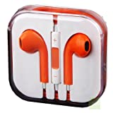 New Style Orange Earphones Headphones With Remote, Mic & Volume Controls For Apple iPad4 Ipad 3 Ipad 2 Ipad iPhone 5, Iphone 5s, Iphone 4s Iphone 4 Iphone3gs Iphone 3 ,Ipod nano, Ipod all generations. by G4GADGET®