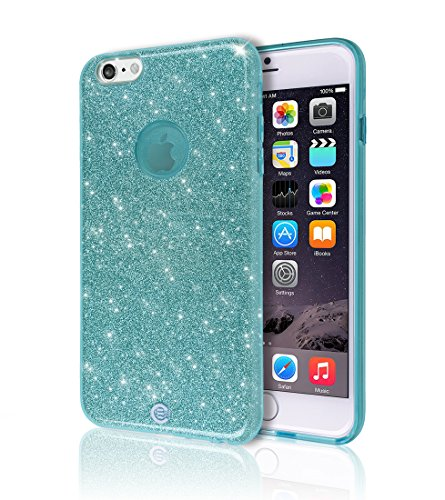 iPhone 6 6S Case [Ultra Slim TPU Bumper] [Flexible Gel] [3D UV Coated Print] Sheer Glam Shinny Bling Sparkle Star Colorful Jelly Back Cover Soft Shell Light Apple iPhone6 iPhone6S (Sky Blue Glitter) (Iphone6 Jelly compare prices)