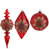 RAZ Imports - Antiqued Red With Gold Poinsettia Glass Ornaments