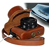 """MegaGear """"Ever Ready"""" Protective Leather Camera Case, Bag for Case for Canon PowerShot G1X Mark II Digital Camera (Light Brown)"""