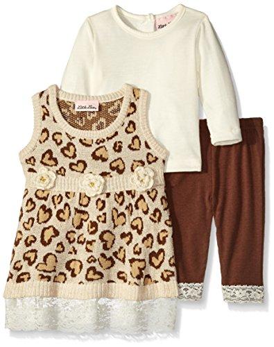 Little Lass Baby-Girls 3 PC Sweater Jumper Set Cheetah Lace Trim, Ivory, 3/6 Months