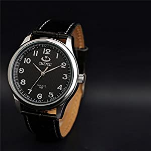 Nice Casual Stylish Leather Strap Wrist Watch,Best Waterproof Quartz Gift Watch For Men-Black