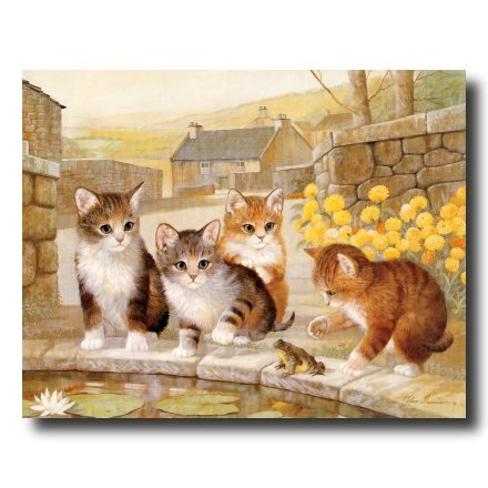 Kitty Cat Kittens And Frogs Kids Room Home Decor Wall Picture 8x10 Art Print