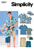 Simplicity Sewing Pattern 5581 Boys and Men Shirts, Shorts and Hat, A (S-M-L/S-M-L-XL)