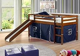 Kid\'s Twin Low Loft Bed w/ Slide and Tent - Espresso w/ Blue