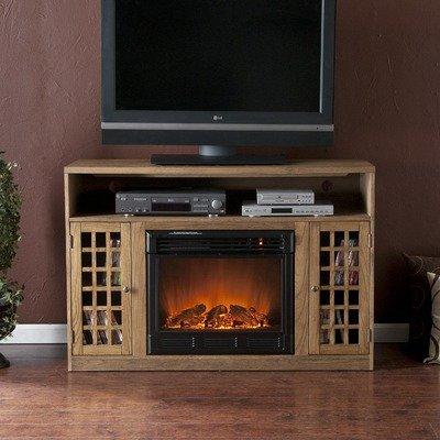 Cheap Lipan 48″ TV Stand with Electric Fireplace in Weathered Oak (CSN0639E)