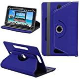 """Generic 360 Rotating 7"""" Inch Tablet Leather Flip Case Cover Book Cover With Stand For HCL ME Connect 2G V1 -Blue"""