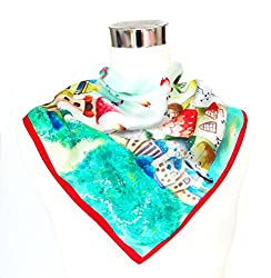 Satin Multicolored Fairground Print on Red Band - Silk Bandana 21