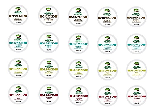 20 Count - Green Mountain Variety Organic Coffee K-Cups for Keurig K Cup Brewers and 2.0 Brewers - (4 Flavors, 5 K-cups each) (Keurig Singles compare prices)