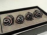 Mazda Logo Emblem Full Carbon Fiber Tire Valve Stem Caps for all Mazda models Perfect Fitment High Quality Gloss Finish CF Carbon Weave