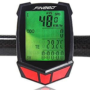 Bike Computer,Fineed Wireless Bicycle Speedometer,Waterproof Cycling Odometer Large LCD Screen Display Multi Function