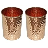 Handmade Pure Copper Glass Cup for Water or Tea or Coffee (Hammered Glass, 2)