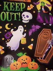 Halloween Reusable Window Cling ~ Graveyard Warnings: Keep Out (10 Pieces)