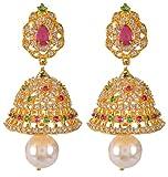 Violet & Purple Gold Alloy Jhumki Earrings for Women (1000029581)