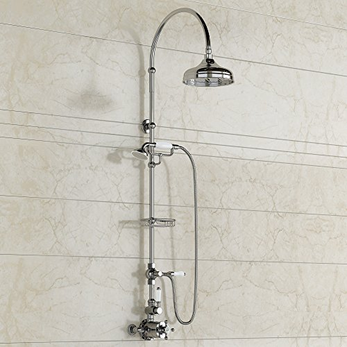Traditional Exposed Thermostatic Chrome Bar Shower with Handheld Shower Set SS6817