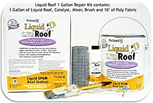 """Liquid Roof RV Roof Coating 1 Gallon Repair Kit (this kit contains 1 gallon of Liquid Roof, mixer, brush and 1 - 3""""x10' piece of Poly Fabric)"""