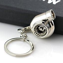 Maycom® Creative Sleeve Spinning Turbo Turbine Turbocharger Keychain Key Chain Ring Keyring Keyfob Key Holder Make Real Whistle Sound (Polished Sliver)