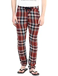 Wear Your Mind Maroon Checkered Cotton Pyjamas For Men WPY013.2