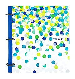 Five Star NoteBinder, 1-Inch, 3 Ring Binder, Flex Style Hybrid, 200 Sheet, 11-1/2 x 10-3/4 ( Dots Design)