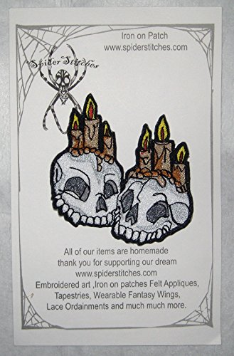 Together Forever Skulls with Candles Iron on Patch Skull Patch (Homemade Day Of The Dead Costume)