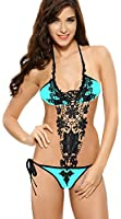Ebuddy Lace Handmade Flower One Piece Bikini Swimwear Monokinis