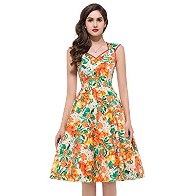 Sleeveless Vintage Flare Dress Pure Cotton VL7600-1
