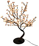 Hi-Line Gift Ltd. 37367-B96 30-Inch Lighted Pink Bonsai Tree with 96 Bulbs with Battery Operated Floral Lights