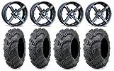 MSA Black Battle 14″ ATV Wheels 30″ Zilla Tires Honda Rincon Yamaha Rhino Kawasaki Brute Force Suzuki KingQuad