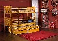 MAXIMILIAN Children Triple Bunk Bed - Pine Wood - 24 Colours - 2 Sizes - 4 Types of Mattresses