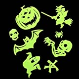 Halloween Pumpkins And Ghost Witch Noctilucent Glow Wall Art Stickers
