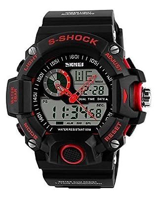 COCOTINA Mens Digital 50M Waterproof LED Alarm Multifunction Boy Sport Wrist Watch Red