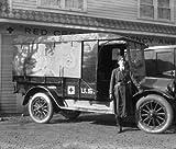 1918 photo Am. Red Cross motor transport Vintage Black & White Photograph g7