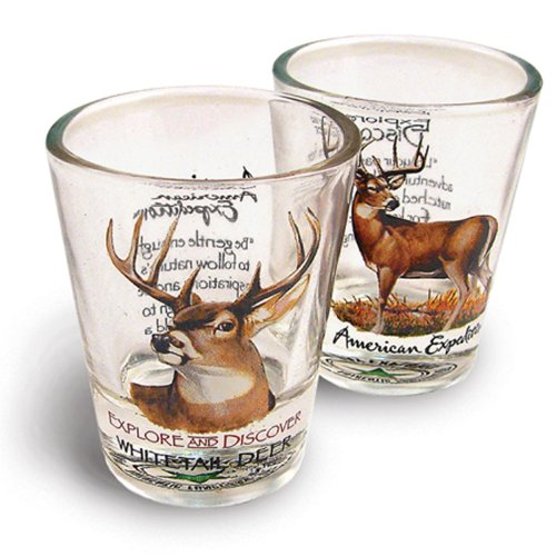 American Expedition Set of 2 Shot Glasses (Whitetail Deer)