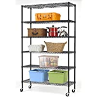 Bestoffice 6-Shelf Commercial Steel Wire Shelving Rack with Wheels (Black or Chrome)