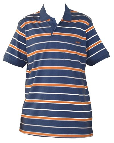 Mens Blue & Orange Stripe Polo Shirt. Size Medium.