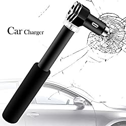 Car Life Safety Hammer with 2 Port Car Charger,DLAND Emergency Tool Window Breaker Life Escape Hammer Dual USB Port Charger Compatible with all Cars and iPhone & Android phones and tablets