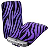 Purple & Black Zebra Print Leather Xylo-Pouch Case Cover with Pull Up Cord: for the Apple iPod Touch 5 / 5th Generation / 5G - 32GB & 64GB