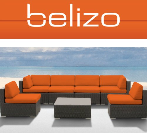 7Pcs GUETHARY Patio Outdoor All Weather WICKER Furniture Sectional Set ORANGE CUSHIONS (Free Shipping) by BELIZO