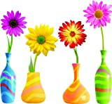 Daisy Flowers with colorful vase SET Repositional and Removable Wall Decal Beautiful Deco Art Cute Sticker Murals