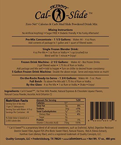 Skinny Cal-O-Slide Mudslide - Zero Calorie Natural Mudslide Mix - 1Lb, 1 Lb