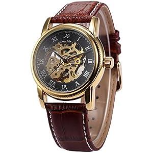 KS Gold Skeleton Automatic Mechanical Mens Leather Wrist Watch KS032
